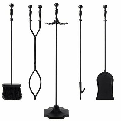 Black Wrought Iron Fireplace Fire Pit Toolset - 5-Piece Tool Set Poker Shovel ++
