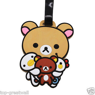 New Rilakkuma Relax Bear Soft Silicone Rubber Luggage Tags Baggage Tags