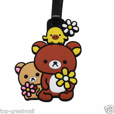 New Relax Bear Rilakkuma Soft Silicone Rubber Travel Luggage Tags Baggage Tags