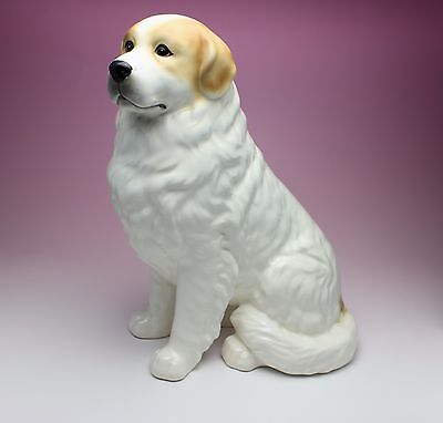 "11""H Sitting Marked Great Pyrenees White with Tan Porcelain Dog Figurine Japan"