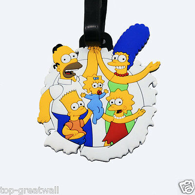 New The Simpsons Rubber Silicone Travel Luggage Tags Labels Baggage Tag