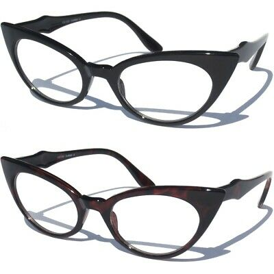 41e4a42d395 Cat Eye Clear Lens Color Frame Glasses Womens Retro 60s Vintage Design Sexy  New