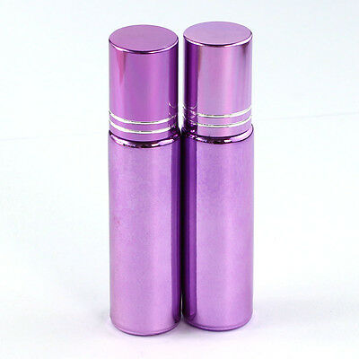 5 Pcs Small 10ML Empty Perfume Roll on Roller Metal Ball Glass Bottle& Purple