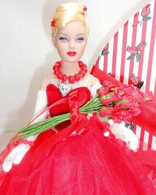 """Red Valentine Tiny Kitty Collier Tonner 10"""" Fashion Doll Roses Jewelry Stand Box"""