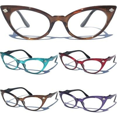998adddf6c8 Cat Eye Clear Lens Color Frame Glasses Womens Retro 60s Vintage Cute Design  Sexy