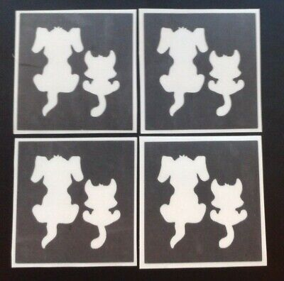Puppy & kitten stencils for etching on glass dog animal  hobby commerative