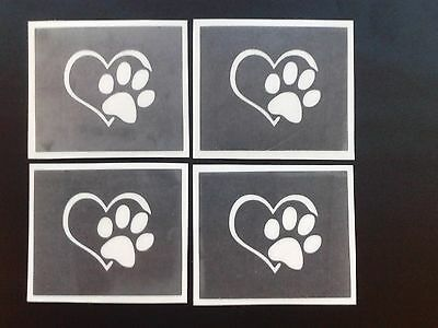 Paw with heart stencils for etching on glass dog animal  hobby commerative