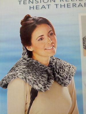NEW Sunbeam Renue Tension Relieving Heat Therapy Neck Shoulder Leopard Faux Fur