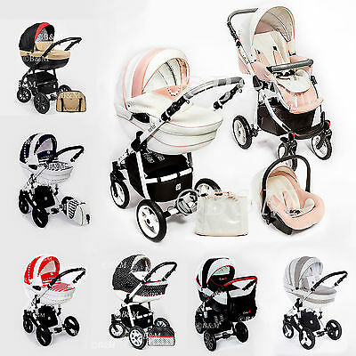 Pram Stroller Travel system Pushchair Swivel wheels Car seat Isofix Buggy 2,3in1