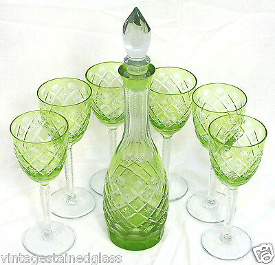 Leaded Crystal Decanter & Six (6) stems; Green Hand Cut to Clear            (16)