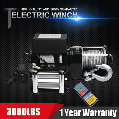 3000lbs Pulling Recovery Heavy Duty Electric Winch 4WD ATV Truck Car Boat 4x4 UK