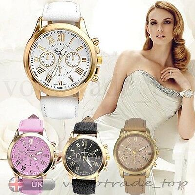 Fashion Women's Geneva Watch Stainless Steel Leather Analog Quartz Wrist Watches