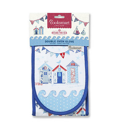 COOKSMART Beside The Sea Nautical Beach Hut Double Oven Gloves Insulated Mitts