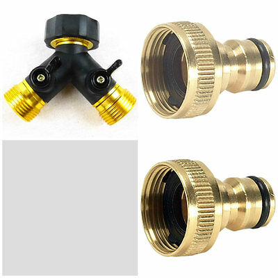 3/4'' Two Way Double Garden Twin Tap Hose Pipe Splitter Connector Adaptor New