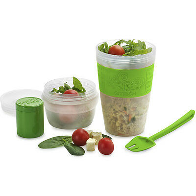 Official Product Smash Portable Salad Cup and Fork Set Lunch School Work Green