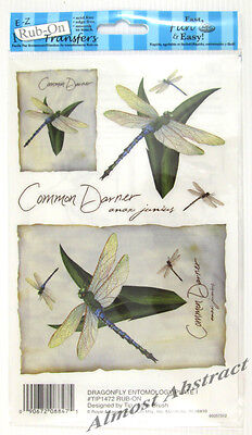 Entomology Images of Dragonfly E-Z Rub-On Transfers Sheet (Decals) ~ New