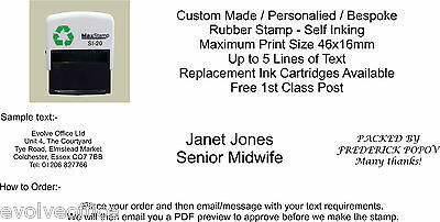 PERSONALISED SELF INK RUBBER STAMP BUSINESS,ADDRESS 46x16mm Five Lines of TEXT