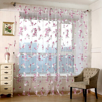 Sheer Curtain Voile Window Curtains Valance Beer Kids Living Room Bedroom Decor