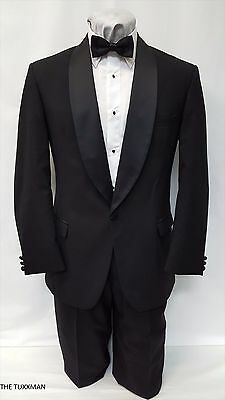 42 R USED Mens Black One Button Tuxedo Package Formal Tux Prom Wedding Sale