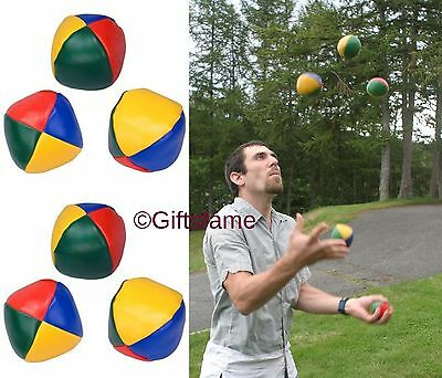 6 New Coloured Juggling Balls Learn To Juggle Set Of Six Circus Toys