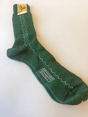 Men's Vintage Green Diamond Pattern Socks  Size 43-45 Unworn Dead stock