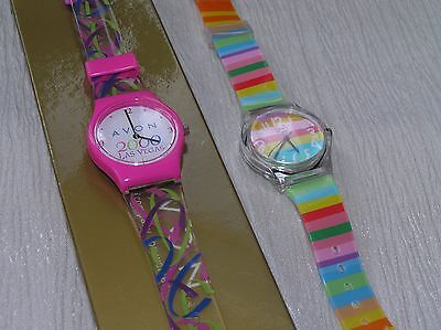 Lot of 2 Colorful Willis for Mini & Avon 2000 Las Vegas Plastic Watches – both