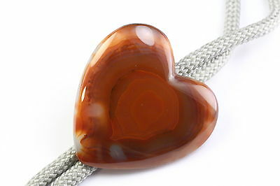 Banded Agate Heart Shaped Bolo Tie