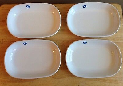 (4) 1980s - 1991 EASTERN AIRLINES SERVING DISHES, BLUE LOGO, CORNING WARE DISH