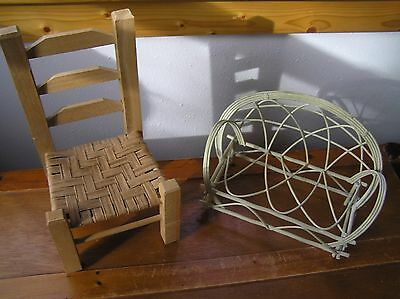 Lot of 2 Tan Wood Chair and White Painted Wrought Iron Couch Sofa Doll Furniture