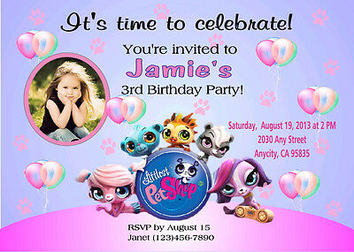 Littlest Pet Shop Custom Printable Birthday Party Invitation Free Ty Card