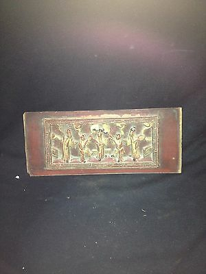 "13 1/2"" Early 20th Century Chinese Carved Wood Pediment Plaque W/chinese Figures"