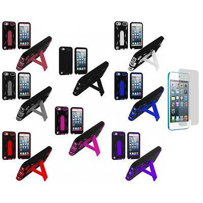 Color Black Hybrid Case Cover Stand+Screen Protector for iPod Touch 5th Gen 5G 5