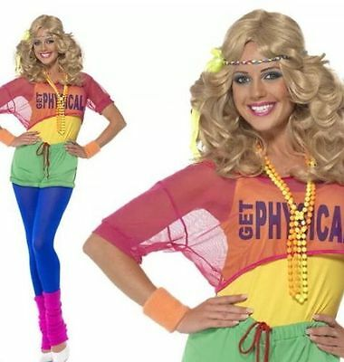 FANCY DRESS LADIES LETS GET PHYSICAL 80's CLUBBING COSTUME - SIZES 6-18 39465