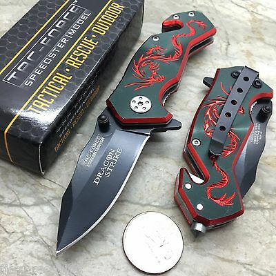 TAC-FORCE Red Dragon Small Tactical Survival Rescue Pocket Knife TF-686BR
