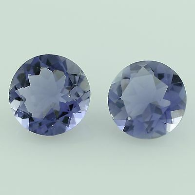 Iolite 2.70 Ct Pair Of Blue 8 Mm Round Shape Authentic Faceted Cut Gemstone