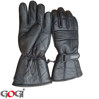 Dress Gloves Warm Winter Gloves Windproof 3m Thinsulate Real Leather BLK 4XL