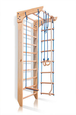 Swedish Ladder Wall Bars Children Home Gym Sport Workout Wooden Kids Toys