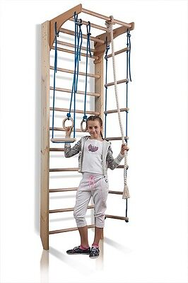 Swedish Ladder Sport Wall Bars Wooden Home Gym Gymnastic Workout Kids Climbing