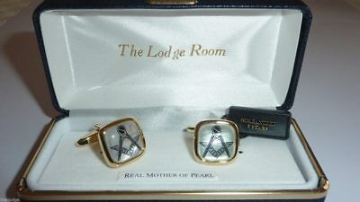 Masonic Mother of Pearl Cufflinks - Gold Plated - LR073