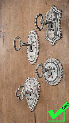 Lot Set of 4 Vintage Metal Coat Hat KEY WALL HOOKS Rustic Antique