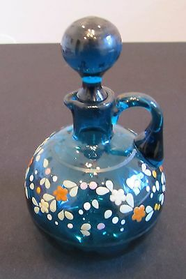 Antique Blown Hand Painted Blue Floral Cruet w/ Stopper Exc Condition