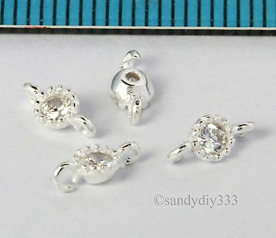 4x STERLING SILVER CZ CRYSTAL ROUND LINK CONNECTOR SPACER BEAD 3.4mm #2602