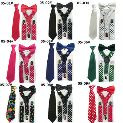 3PCS Child Suspenders Braces Bowtie Ties Matching Boy Toddlers Kids YHHtr0005