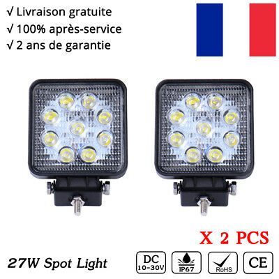 2x Feux de travail LED projecteur 27W Spot Work light SUV 12V Buggy l'éclairage