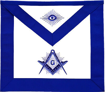 Masonic Master Mason Apron Blue With Radiant G Hand Embroidered (Ma-278-V)