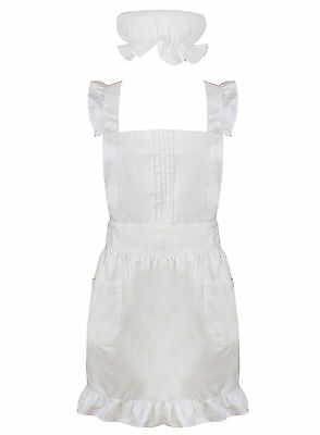 White Frilly Victorian Pinnafore Apron & Mop Cap For Waitress Downton Costume