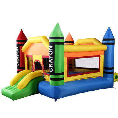 Inflatable Crayon Castle Jump Bounce Kids Playhouse Yard Jumper Bouncer Slide