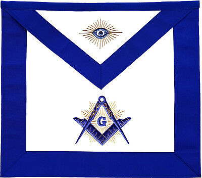 Masonic Master Mason Apron Blue With Radiant G Hand Embroidered (Ma-311-V)