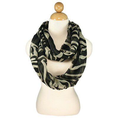 Zebra Animal Print Infinity Loop Fashion Scarf - Gray & Beige Colors Available