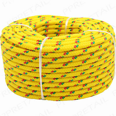 20M LONG x 4mm THICK ROPE Yellow Braided -HOLDS 150Kg- Poly Strong Utility Cord